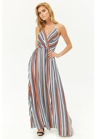 Crepe Striped Surplice Maxi Dress