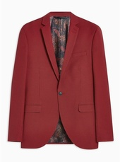 Red Two Tone Skinny Fit Single Breasted Blazer With Notch Lapels
