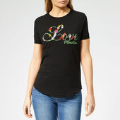 Love Moschino Women's Floral Logo T-shirt - Black - It 40/uk 8 - Black