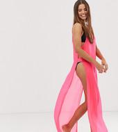 Vestido De Playa De Malla En Rosa Neón Exclusivo De Glamorous
