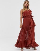 Vestido Largo Color Teja Con Diseño Asimétrico Y Detalle De Cinturón De Forever New