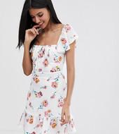 Minivestido Con Estampado Floral Y Frunces En La Parte Delantera De Fashion Union Tall