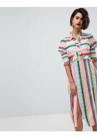 Vestido Midi Con Aberturas Laterales Y Diseño A Rayas De Vero Moda