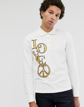 Polo De Manga Larga Con Estampado Dorado De Love Moschino