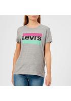 Levi's Women's The Perfect T-shirt - Pastel Logo Smokestack Heather - Xs - Grey