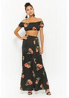 Floral & Pin Dot Crop Top & Maxi Skirt Set