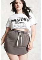 Plus Size Raw-cut Mini Skirt