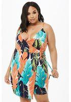 Plus Size Tropical Leaf Wrap Mini Dress