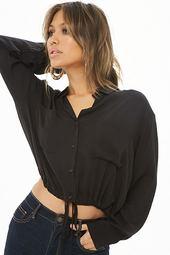 Drawstring Shirred Shirt