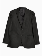 Grey Tailored Fit Single Breasted Blazer With Notch Lapels