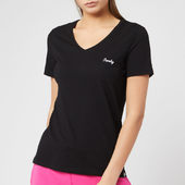 Superdry Women's Ol Essential Vee T-shirt - Jet Black - Uk 8 - Black
