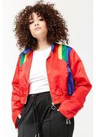 Plus Size Colorblock Zip-front Jacket