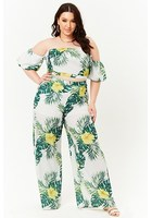 Plus Size Floral & Leaf Print Palazzo Trousers