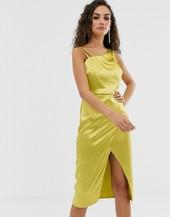 Vestido Asimétrico De Satén Color Lima De Outrageous Fortune