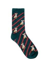 Men Dog Print Striped Crew Socks