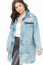 Plus Size Longline Denim Jacket