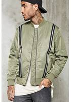 Contrast Zippered Bomber Jacket