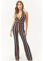 Striped Surplice Halter Jumpsuit