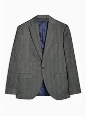 Grey Slim Fit Single Breasted Blazer With Notch Lapels