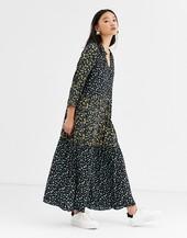 Vestido Midi Con Estampado Floral Combinado De Only