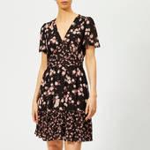 Michael Michael Kors Women's Rose Print Mix Dress - Black/dusty Rose - Xs - Black