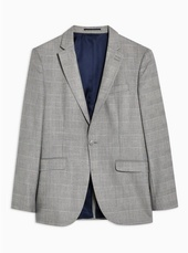 Grey Slim Fit Check Single Breasted Blazer With Notch Lapels