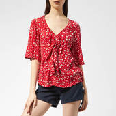 Superdry Women's Zoe Tie Top - Petra Paisley Red - M - Red