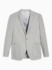 Grey Skinny Fit Jersey Single Breasted Blazer With Notch Lapels