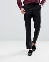 Pantalones De Esmoquin De Corte Slim De Lana 100% En Negro De Asos