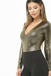 Metallic Striped Bodysuit