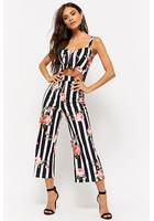 Striped Floral Wide-leg Jumpsuit
