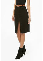 Slit Corduroy Pencil Skirt