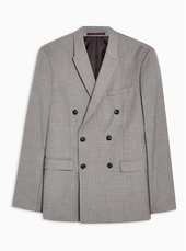 Grey Marl Skinny Fit Double Breasted Blazer With Peak Lapels