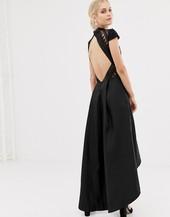 Vestido Midi Asimétrico En Negro Con Espalda Abierta De Chi Chi London