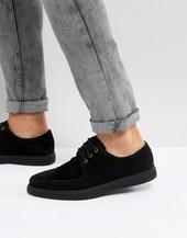 Zapatos Estilo Creeper De Antelina Con Cordones En Negro De Asos