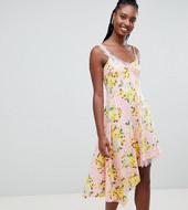 Vestido Camisola Con Aplicación De Encaje Y Estampado Floral De Asos Design Tall
