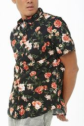 Fitted Rose Print Shirt
