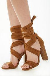 Faux Suede Strappy Block Heels