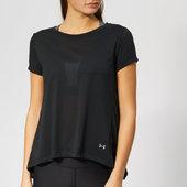 Under Armour Women's Whisper Light Foldover Short Sleeve T-shirt - Black - S - Black