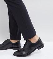 Zapatos Oxford De Cuero Negro De Corte Ancho De Asos