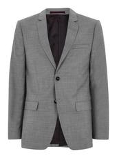 Grey Marl Slim Fit Single Breasted Blazer With Notch Lapels