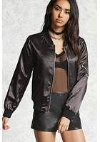 Studded Satin Bomber Jacket