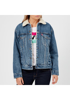 Levi's Women's Ex-boyfriend Sherpa Trucker Jacket - Addicted To Love - Xs - Blue