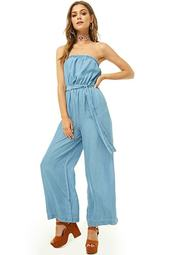 Strapless Chambray Wide-leg Jumpsuit
