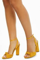 Knotted Faux Suede Heels