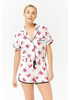 Watermelon Button-front Pajama Romper