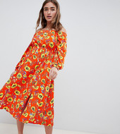 Vestido Midi Con Escote Bardot Y Diseño Floral Rojo De Asos Design Petite