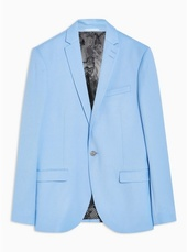 Light Blue Skinny Fit Single Breasted Blazer With Notch Lapels