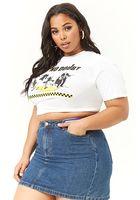 Plus Size Rainbow Striped Denim Mini Skirt