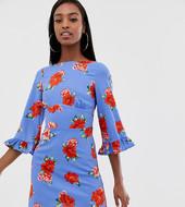 Vestido De Tarde Midi Con Estampado Floral De Fashion Union Tall